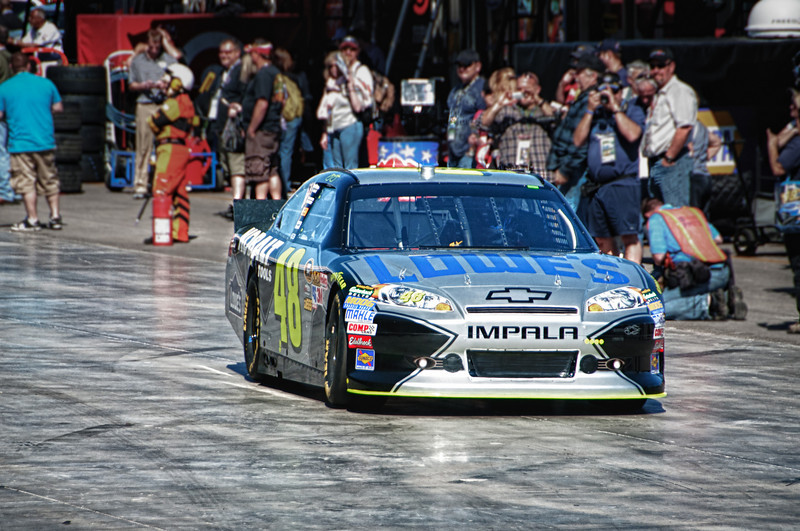 """Jimmie Johnson in the 48 car trying to get it """"dialed in""""."""
