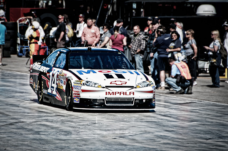 Tony Stewart in the Mobil One # 14.  Qualifying day for the Kobalt 400.