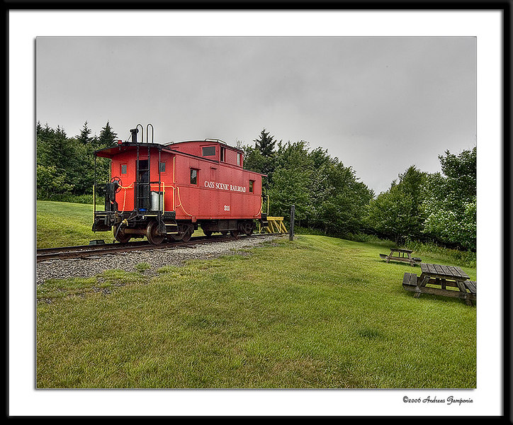 A caboose rented for a peaceful stay atop Bald Knob for the past several days is scheduled to be picked up by our train this date for return to Cass.  With no roads up to this point, the only interruption to a stay up here in a caboose and/or tents is a daily visit by the Cass train.