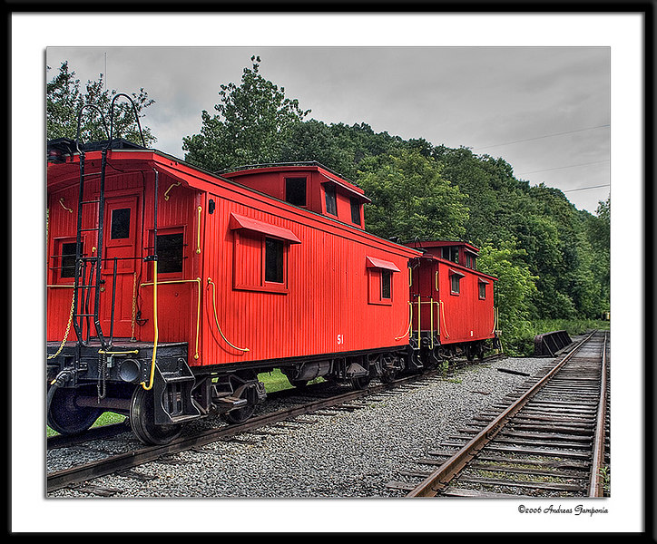 Two of the caboose wagons.  One can rent these and be taken to either Wittaker Station or Bald Knob and left amongs the beauty of the West Virginia countryside until the prearranged pickup date.  Our trip this date was to pickup a caboose with its passengers that had been overnighting on Bald Knob for a couple of days.