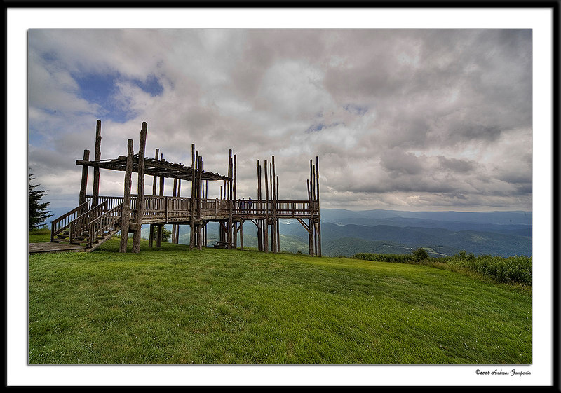 A viewing deck at the end of the rails on Bald Knob provides for a stunning vista.