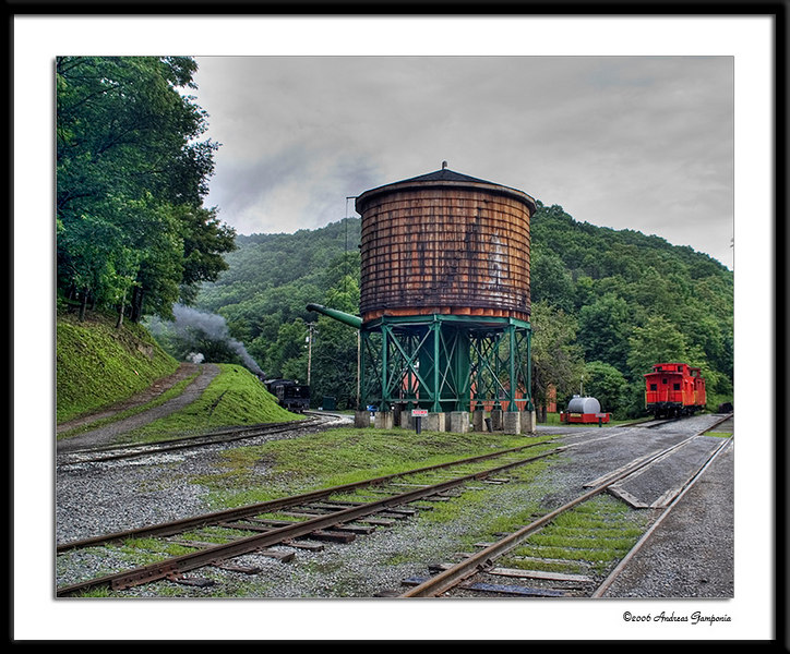 She'll Be Comin' Round the Mountain - the title of a popular Appalachian tune seems appropriate for this scene...  The train is coming from the Leatherbark Creek and the Cass Shop to the station to pickup the passengers for the ride up to Wittaker Station and beyond to the top of Bald Knob.