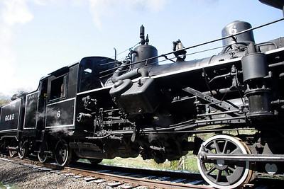 Heisler steam locomotive lettered as Greenbrier, Cheat & Elk #6.