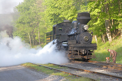 Cass Scenic #2 backing down to couple to the train.