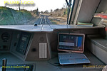 Having departed from Wembley Stadium at 14:28:30, test train 5U41 is now accelerating up the gradient towards the bridge over the WCML at Blind Lane. The DAS laptop on the secondman's desk is now showing an advice speed of 100mph in the main part of the display, realtime is now 14:29:05 and ETA at High Wycombe is shown as 14:44:12 against the scheduled time of 14:44:30. The gradient is now +2.47% (uphill) and mileage 4 miles 40 chains. The acceleration curve can now be seen in the blue rectangle, once the curve reaches the right hand edge, that represents the advice speed. The pointer below shows the train's performance in relation to the curve, at the moment it is very slightly behind it. Sunday 27th January 2013. Digital Image No. GMPI14012.
