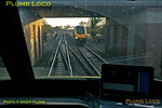View from the cab of DVT 82304 as test train 5H48 is now well into its stride as it nears Aynho Junction at 15:54:30 as a northbound CrossCountry Voyager comes the other way. Sunday 27th January 2013. Digital Image No. GMPI14159.