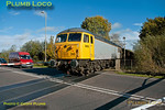 56312 was once again in action with 6Z91, 10:55 from Calvert to Didcot Power Station fly ash empties train, on Friday 2nd November 2012. It is seen here at Charbridge Lane level crossing on the Bicester Eastern Perimeter Road at 11:48, having arrived rather early and waited some ten minutes before setting off again. Digital Image No. GMPI12802.