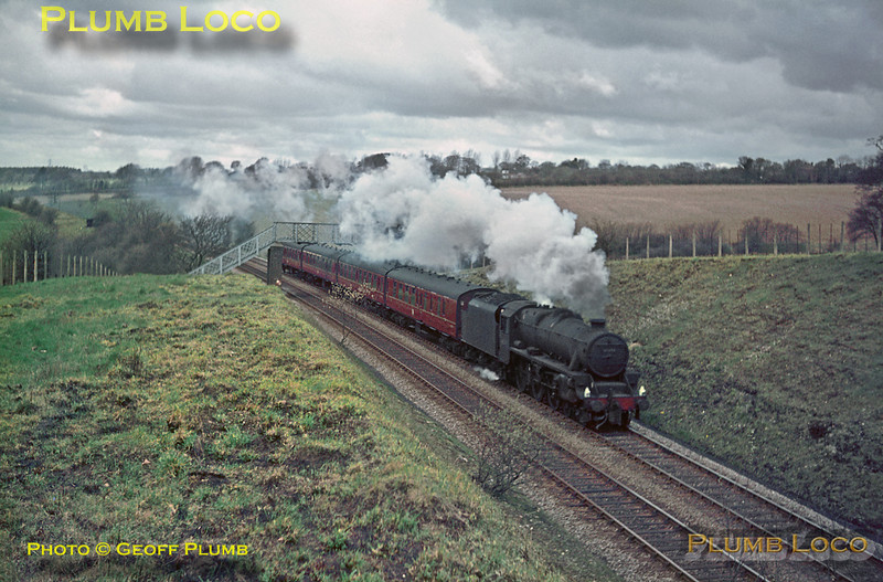 """""""Black 5"""" 4-6-0 No. 45393 heads south through the Chiltern hills near Little Missenden with the 08:15 semi-fast train from Nottingham Victoria to Marylebone on Tuesday 13th April 1965. Slide No. 1280."""