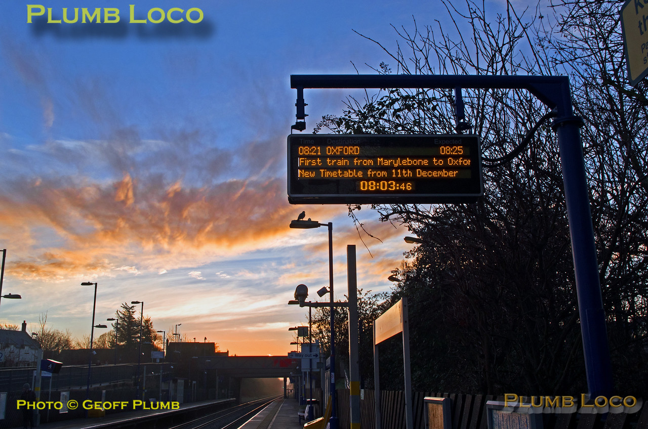 Sunrise, information display, Haddenham, 11th December 2016