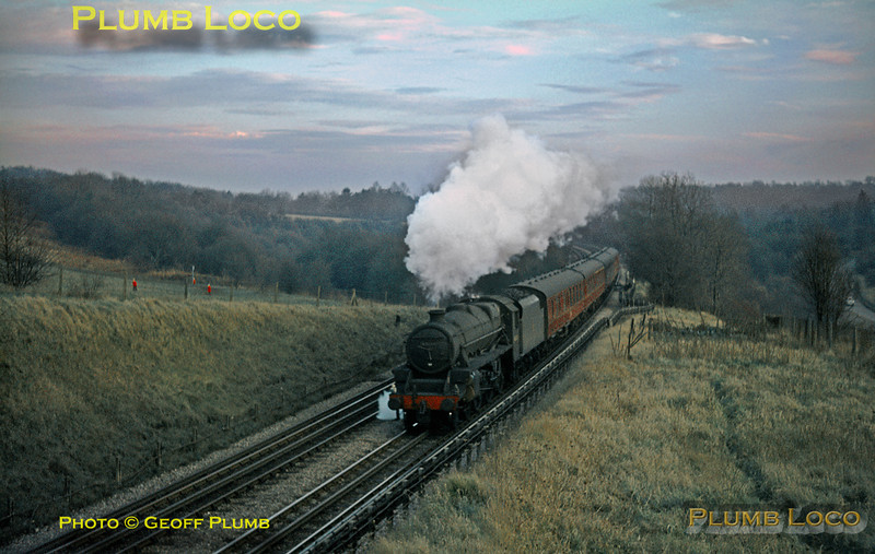 """""""Black 5"""" 4-6-0 No. 45134 is passing Chorley Wood common in the fading light of a winter afternoon with the 14:38 semi-fast train from Marylebone to Nottingham Victoria. Thursday 6th January 1966. Slide No. 1794."""