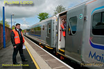 Once again the onboard staff try out the new power doors as the train stops at Saunderton station (not often that loco-hauled trains stop here!) during the run of 5R00, 10:59 test train from Wembley LMD to Birmingham Moor Street, 11:57, Tuesday 15th May 2012. Digital Image No. GMPI11743.