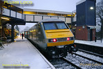 A wintry scene at Dorridge station as Chiltern LHCS test train 1Z68 stops for the Chiltern safety team to make step differential and disabled access ramp angle measurements. This is in connection with the forthcoming trains from the start of the winter timetable. The train was formed of W&S 67014 leading southbound with 82303 on the rear. The train ran from Wembley LMD 13:00 outbound as 1Z67,  making appropriate stops for measurements to be done. I was invited to travel by WSMR and joined the outbound train at Bicester North. 15:58, Wednesday 1st December 2010. Digital Image No. GMPI7005.
