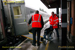 Dorridge station is also on a considerable curve so the tracks are canted accordingly. The safety team on 1Z67 conduct their tests as swiftly as possible so as not to hold up other trains, before departing for the next stop at Birmingham Moor Street. 15:10, Wednesday 1st December 2010. Digital Image No. GMPI6985.