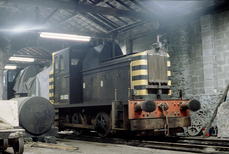 01002(with 01001 sheeted over)Holyhead Breakwater Shed 16th July 1979