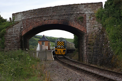 Most photos taken here are from the bridge and looking over my shoulder but with no sun to worry about, I thought this view of D9526 passing the 'pagoda' shelter at Doniford Beach Halt would make for something different. 6/6/14