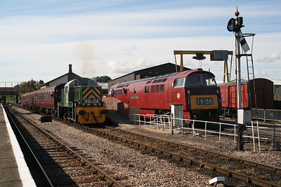 D9526 works the 08.30 Bishops Lydeard - Minehead away from Williton. D1010 carries 'Western Yeoman' nameplates in connection with the Foster Yeoman theme of the gala weekend (though these belonged to D1035, of course). 11/6/11