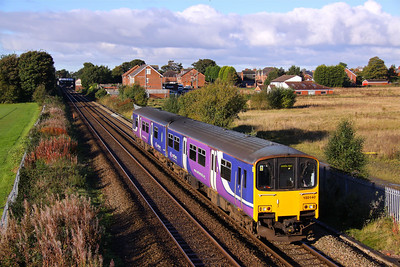 150140 departs Rainhill with a Liverpool - Manchester Airport service, 06/10/12.