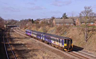 155341 & 153358 pass Horbury with the 07:43, 2O67, Selby - Wakefielld Westgate, 19/03/10.