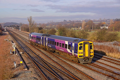 158791 'County of Nottinghamshire' crosses the point work at Trowell Junction with the 12:05 Leeds - Nottingham service on 06/01/11.