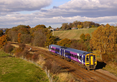 158797 heads South at Crigglestone on the Barnsley line with the 13:05 Leeds - Nottingham, 03/11/12.