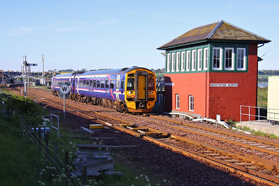 158706, in First Scotrail livery, departs Montrose with 1A43 06:01 Perth - Inverurie, on 31/05/10.