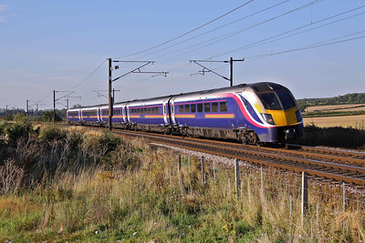 180109 heads South at Eaton Lane with 1A96 17:06 Hull - Kings Cross, 19/08/09.
