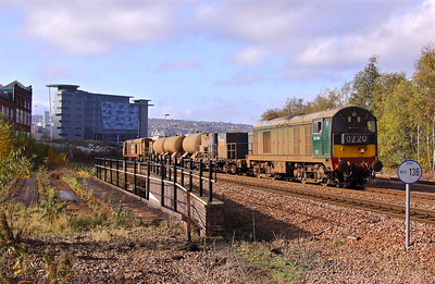 20189 and 20227 climb away from Nunnery Mainline Junction in Sheffield with 3S14 11:29 (Saturday's) Sheffield - York RHTT running via Hull. 12/11/11.