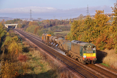 20189 and 20227 pass Waleswood. between Woodhouse and Kiverton, with 3S13 09:08 Sheffield - Sheffield RHTT as far as Worksop.12/11/11.