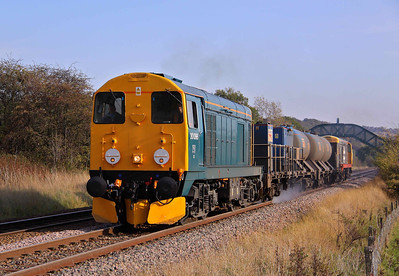 20096 in BR blue, top and tails with 20227 in Railfreight grey livery pass Butterthwaite Farm, Ecclesfield working 3S14 11:13 Grimsby Town - Malton RHTT. 24/10/11.