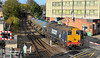 20305 leads 20303 and the 08:50 Wrenthorpe - Grimsby Pasture Street Rail Head Treatment Train into Grimsby Town station at 10:42 on the morning of Friday the 26th October 2018. <br /> With the shadows in the foreground encroaching onto the track, I was at a dilemma as to whether or not take a still or use a recently purchased Sony Handycam for a movie shot - reasoning that the shadows aren't as critical for a movie - a spur of the moment decision and the Handycam won - this is actually a frame capture from the movie (hence the widescreen ratio) - the best of both worlds?