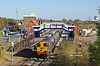 With work being underway to replace the footbridge at the West end of Scunthorpe station on Monday 22nd October 2018, 20303 and 20305 pass at 12:34 with the late running 11:13 Grimsby Pasture Street - Bridlington RHTT.