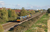 20007 leads the 14:44 Hull - York Thrall Europa Rail Head Treatment Train on the approaches to Brough at 14:58 on Thursday 18th October 2018 - 20205 brings up the rear.<br /> This location (a new road access bridge) isn't ideal for such a short train, but was the easiest to get to by car from Hull city centre - I initially tried to photograph the train departing Paragon but it was put into the old excursion platform where it's not possible - so a quick dash was in order - I only made it by a couple of mins.