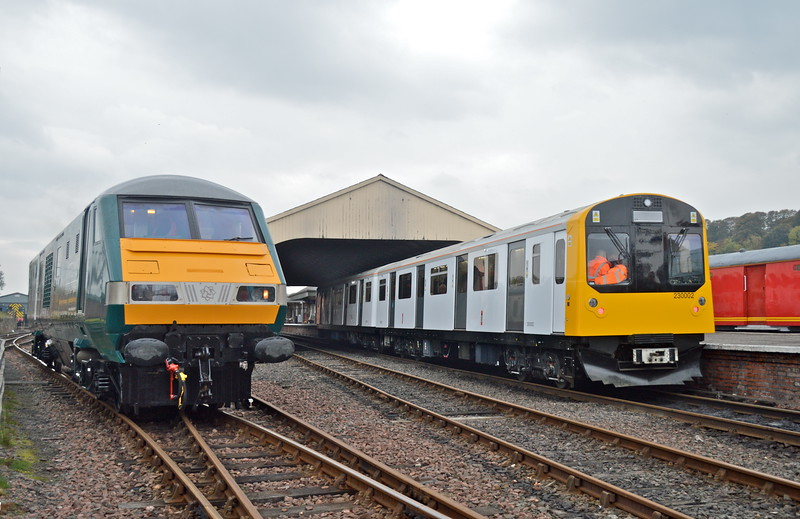 The only photo of the two prototypes together.<br /> Ex-DVT ( Class 19 ) and Ex-London Underground ( Class 230 ) at Bo'ness.<br /> 11th October 2018.