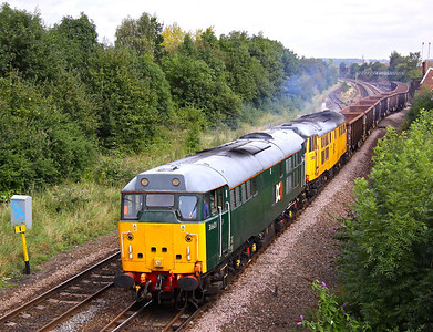 31601 & 31602 pull out of Down Goods West, Derby with 6Z31 11:07 Chaddesden - Cardiff Tidal empty JRA's, 01/09/12.