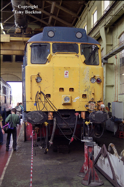 An unidentified class 31 / 4 receives attention at Doncaster Works Open Day - 12th July 1992. I assume this would have emerged in Regional Railways livery following completiion.