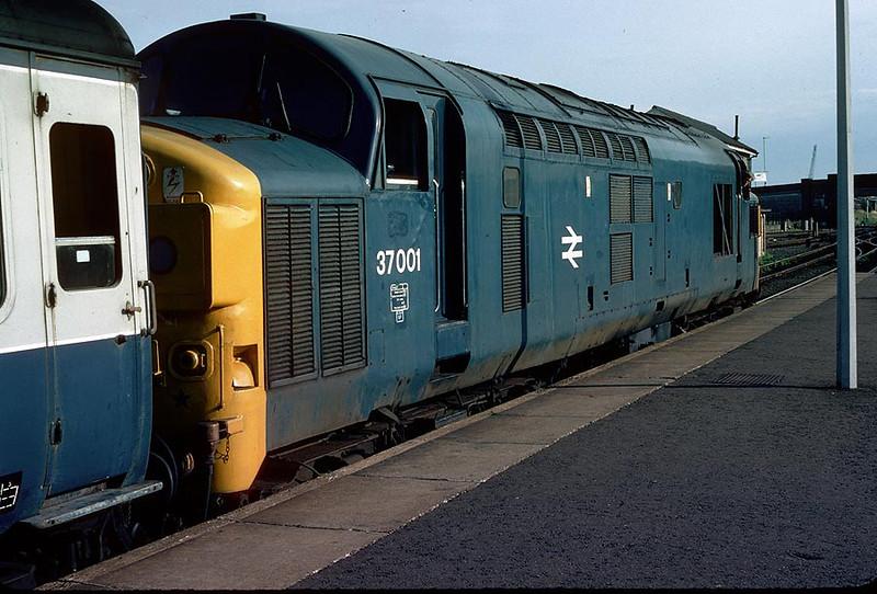 37001 Cambridge on 1730 Kings Lynn-Liverpool St. 3rd July 1982