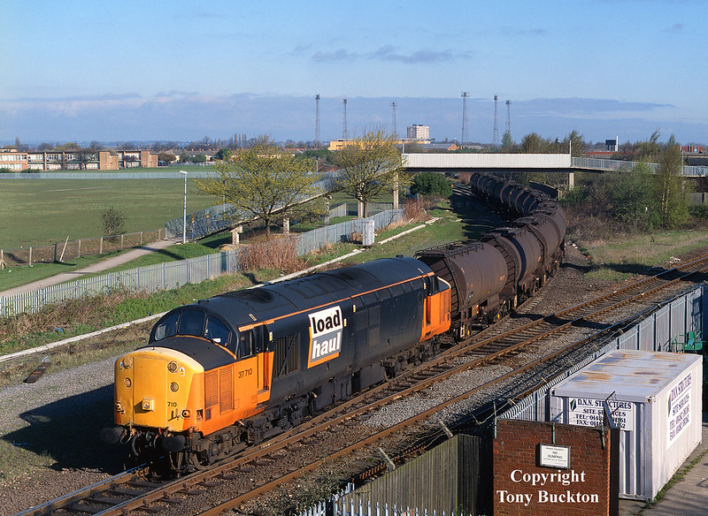 37710 leaves the Hull Docks branch at Hessle Road Junction at 08:30 on the morning of April 30th 2001 with the 6V14 Saltend - Baglan Bay acetic acid tanks.