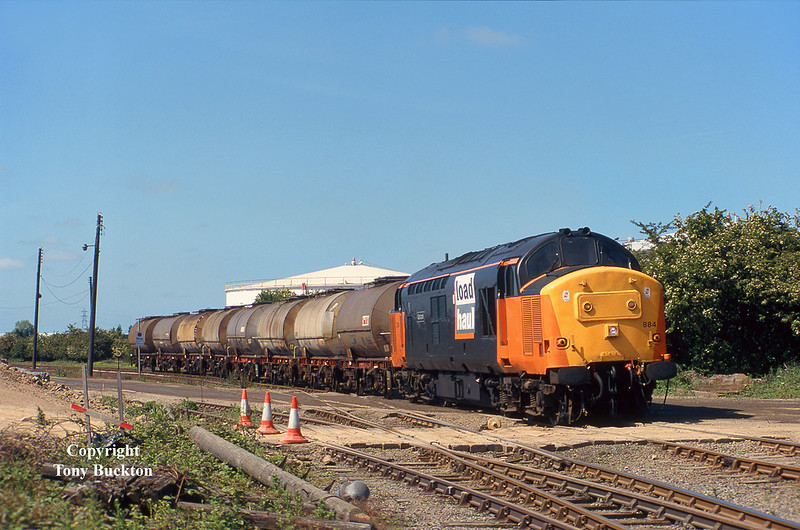 The striking LoadHaul livery as applied to 37884 'Gartcosh', made for a fine sight on Wednesday 28th May 1997, as the 09:49 6E39 from Mostyn is seen entering the reception sidings at Saltend against a wonderful blue sky. Being an Immingham allocated machine at the time, this loco was certainly no stranger to this traffic.