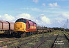 37688 stands in Hedon Road Sidings, Hull King George Dock, at 14:15 on September 28th 2000 with YLA Mullet's which had been loaded on No 10 Quay. <br /> The rails would later be dispatched to Castleton, whilst the class 37 would work back to Doncaster in the consist of the daily Enterprise service.