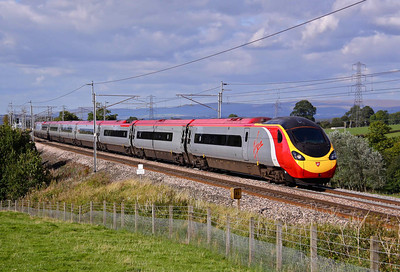 390037 'Virgin Difference' glides South past Great Strickland with 1M15 14:40 Glasgow Central - Euston, 17/09/09.