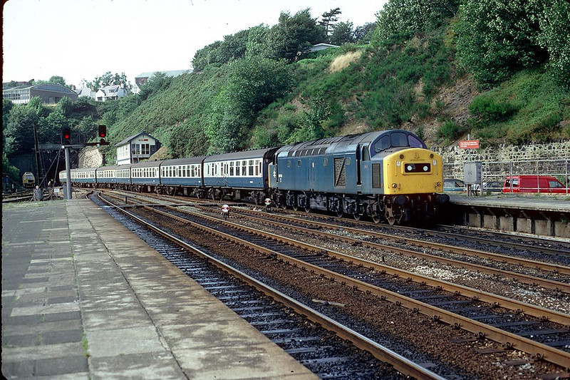 40184 arrives Bangor on 1444 Holyhead-Manchester 29th August 1982