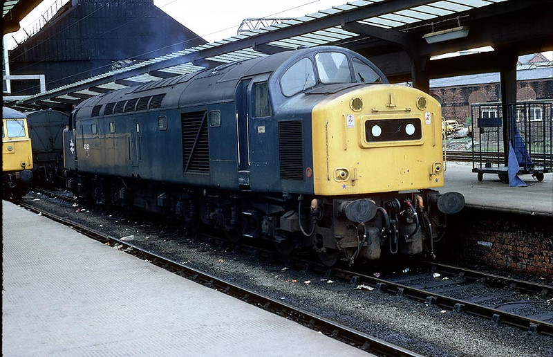 40182 Preston prior to working 0823 Glasgow-Liverpool Lime St. 12th April 1982