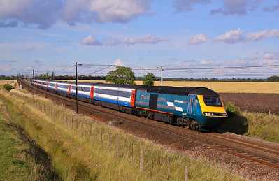 43060 and 43075 head South of York at Colton with the 16:55 Newcastle - Kings Cross (1A42). 12/08/10.