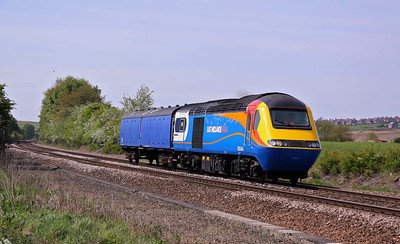 43044 - East Midlands Trains power car and GSA 6399 HST barrier vehicle, head North past Slitting Mill Crossing with 5Z50 (12:00) Derby Etches Park - Leeds Neville Hill. 04/05/11.