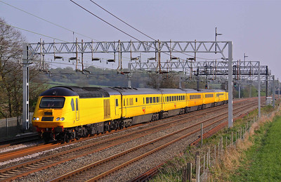 43013 and 43062 New Measurement Train heads North at Lower Hatton with 1Q27 15:31 London Euston - Derby RTC. 20/04/11.
