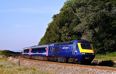 43009 sweeps round the curves at Langstone Rock with 1A12 07:40 Penzance - Paddington on the beautiful morning of 26/07/12.