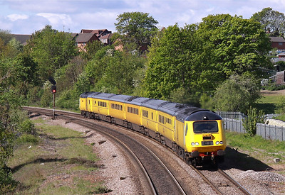 43013 & 43062 pulls away from Masbrough North Junction with 1Q28 08:32 Derby RTC - Heaton New Measurement Train, 12/05/12.