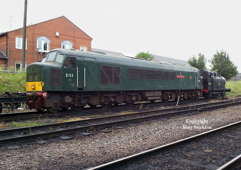 "D123 Stands at Loughborough on Friday 17th June 2016. <br /> The locomotive was a long time resident of Hull Dairycoates and Botanic Gardens sheds during the 1990's under the custodianship of the Humberside Locomotive Preservation group - just over 18 years ago I photographed the locomotives move from Hull at which time the condition was a little worse for wear to say the least - see link;<br /> <a href=""https://tonybuckton.smugmug.com/Trains/Class-44-46-peaks/i-rVbLKmB"">https://tonybuckton.smugmug.com/Trains/Class-44-46-peaks/i-rVbLKmB</a>"