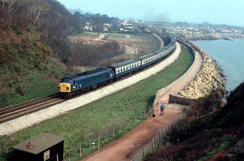 45017 passes Langstone Rock with an ADEX 7th April 1980
