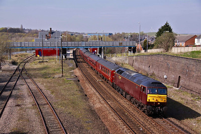 47237, former Advenza loco, heads the 14:06, 1Z66 Hathersage - Crewe, through Woodhouse Station on 29/03/12. The 47 only took the train as far as Derby, where steam loco 46233 'Dutchess Of Sutherland' then took the train on to Crewe.  On the left is the headshunt of Woodhouse East Sidings.